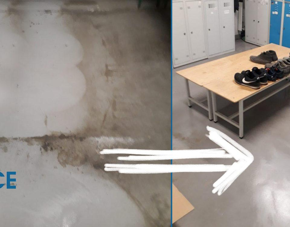 czyszczenie posadzek przed i po